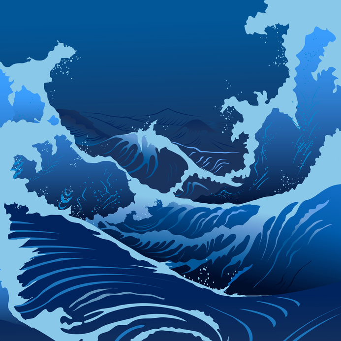 Blue waves in the Japanese style.